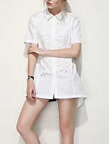 ARNE® Women's Shirt Collar Short Sleeve Shirt & Blouse White-B021