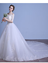 Ball Gown Wedding Dress Court Train Off-the-shoulder Tulle with Appliques / Beading / Ruffle