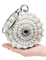 L.WEST Women's The Elegant Luxury Handmade Diamonds Pearl Evening Bag
