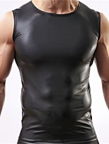 Men's Solid Casual Tank Tops,Special Leather Types Sleeveless-Black