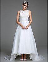 Lanting Bride A-line Wedding Dress Court Train Jewel Organza / Satin with Appliques / Button / Ruche