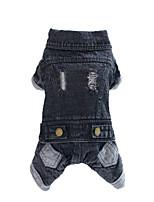 Vestes en Jean-Chien-Hiver / Printemps/Automne-Noir-Mode Couleur Pleine- enCoton / Jeans