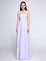 Lanting Bride®Floor-length Tulle Bridesmaid Dress - Elegant Sheath / Column Sweetheart with Side Draping