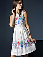 Boutique S Women's Casual/Daily Cute A Line Dress,Print Round Neck Above Knee Sleeveless White Polyester Summer