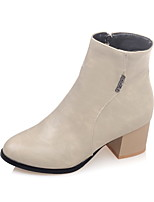 Women's Shoes Fall / Winter Fashion Boots / Pointed Toe Boots Dress Chunky Heel Zipper Black / Almond / Beige