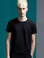 Men's Solid Casual T-ShirtRayon Short Sleeve-Black / White