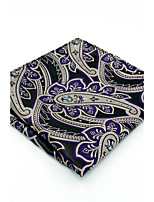 New Men's Handkerchief 100% Silk Purple Paisley For Men Pocket Square Jacquard Woven Dress Business