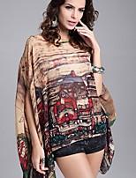 # Dames Ronde hals 02/01 Lengte Mouw Shirt & Blouse Beige-023