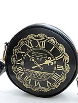 Women PU Casual Clock National Wind Printing  Shopping Shoulder  Key Holder Mobile Phone Bag