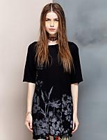 Coeur Soul® Femme Col Arrondi Manche Courtes T-shirt Noir-26AD22174