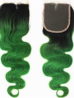 10''-22''/ 10inch-22inch/ 25cm-55cm Зеленый U Part / Бесклеевая кружевная лента Естественные кудри Человеческие волосы закрытиеБежевый /
