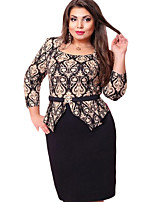 Women's Casual/Daily Simple Spring / Summer Set,Print Round Neck ¾ Sleeve Black Others Medium