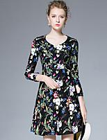 AFOLD® Women's V Neck 3/4 Length Sleeve Above Knee Dress-6028