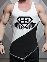 Men's Print Casual Tank Tops,Spandex Sleeveless-Black / White