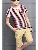 Boy's Casual/Daily Striped Clothing Set,Cotton Summer Red / Yellow