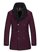 In autumn and winter. Young men in the thickened fur collar coat from long coat slim business woolen coat