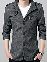 Men's Solid Casual / Work / Formal / Sport / Plus Sizes Trench coat,Cotton / Polyester Long