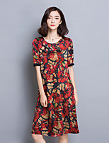 Women's Going out Sophisticated Loose Dress,Floral Round Neck Knee-length Short Sleeve Red / Green / Yellow Rayon Summer