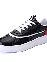 Men's Sneakers Spring / Summer / Fall Comfort PU Casual Flat Heel Split Joint / Lace-up Black / White Walking