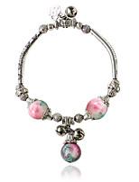 Charm Bracelets 1pc,Black / White / Blue / Green / Pink Bracelet Bohemia Style Round  Alloy / Zircon Jewellery