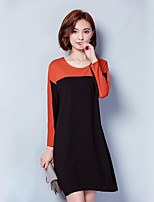 Women's Plus Size / Casual/Daily Street chic Shift DressPatchwork Round Neck Above Knee Long Sleeve PolyesterSpring