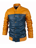Men's Long Sleeve Casual Jacket,PU / Cotton Color Block Blue / Green