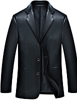 Men's Long Sleeve Casual Jacket,Polyester Solid Black / Blue