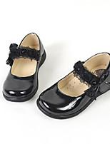 Черный-Для девочек-Свадьба / Для прогулок / Для праздника / На каждый день / Для вечеринки / ужина-Дерматин-На плоской подошве-На плокой