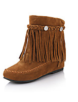 Women's Boots Spring / Fall / Winter Wedges / Fashion Boots Leatherette Outdoor / Casual Wedge Heel TasselBlack / Brown