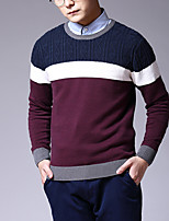 Men's Color Block Casual Pullover,Cotton Long Sleeve Blue / Gray