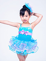 Children Dance Wear Children Girls Dance Performance Dresses Solo Dance Tutus Ruffled Edged Layers Dress