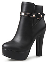 Women's Shoes Boots Spring/Fall/Winter Heels/Platform/Bootie/Round Toe Party & Evening/Casual Chunky Heel Buckle Black