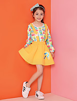 Girl's Casual/Daily Embroidered Dress,Cotton Summer / Spring / Fall Yellow