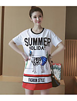 Maternity Casual/Daily Simple Shift Dress,Animal Print Round Neck Above Knee Short Sleeve White Polyester Summer