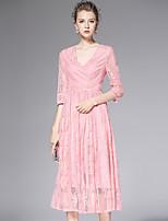 AFOLD® Women's V Neck 1/2 Length Sleeve Tea-length Dress-Y6066