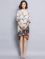 Women's Plus Size Vintage Sheath Dress,Print Stand Asymmetrical ¾ Sleeve Beige Silk Spring