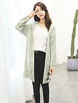Women's Casual/Daily Simple Long Cardigan,Solid Pink / Beige / Brown / Gray Cowl Long Sleeve Acrylic Fall Thin