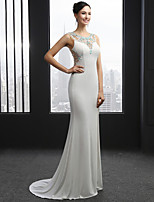 Formal Evening Dress Trumpet / Mermaid Scoop Court Train Chiffon with Beading / Split Front