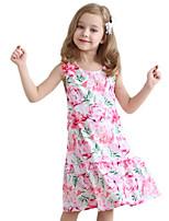 Girl's Cotton Spring/Autumn Print Flower Sundress Sleeveless Princess Dress With Pink Flower