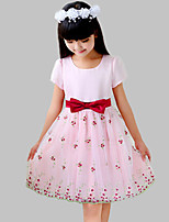 Girl's Casual/Daily Floral Dress,Cotton / Polyester Summer / Spring Pink