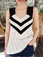 Women's Going out Street chic Regular Vest,Patchwork White / Black Strap Sleeveless Cotton Fall Medium
