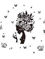 Personality Women Head Portrait Flower With Butterfly Wall Stickers Fashion DIY Living Room Wall Decals Home And Garden