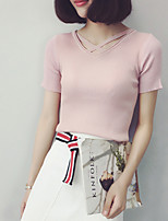 Women's Casual/Daily Simple Summer Blouse,Solid Round Neck Short Sleeve Pink / White / Black / Gray Cotton Thin