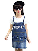 Girl's Cotton Summer/Spring/Autumn Fashion Cartoon Print Overalls Cowboy Suspender Skirt