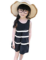 Girl's Casual/Daily Striped Dress,Cotton Summer Black / White