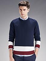 Herren Pullover-Einfarbig Freizeit / Übergröße Baumwolle Lang Blau / Grün / Weiß / Grau