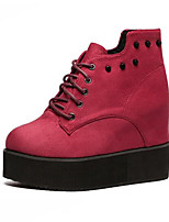 Women's Boots Winter Bootie Leatherette Outdoor Flat Heel Lace-up Red Others