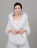 Women's Wrap Shawls Sleeveless Faux Fur Ivory Wedding / Party/Evening Off-the-shoulder 40cm Feathers / fur Open Front