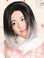 mode ombre perruque pleine tête droites courtes deux gradient de tonalité deux perruque perruques synthétiques de couleur pour les femmes