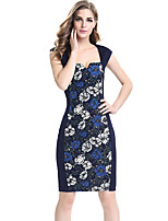 Women's Plus Size / Casual/Daily / Work Street chic Bodycon DressFloral Square Neck Knee-length Sleeveless